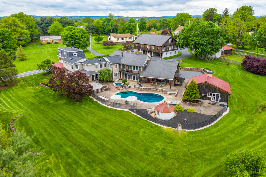 house for sale collegeville live-work-play farm aerial view