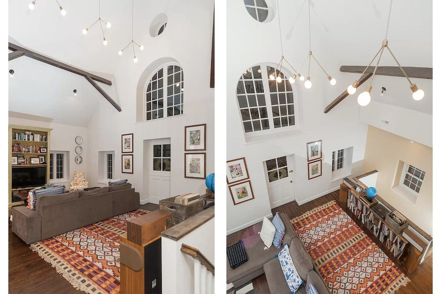 house for sale east falls carriage house retreat overhead views of family room