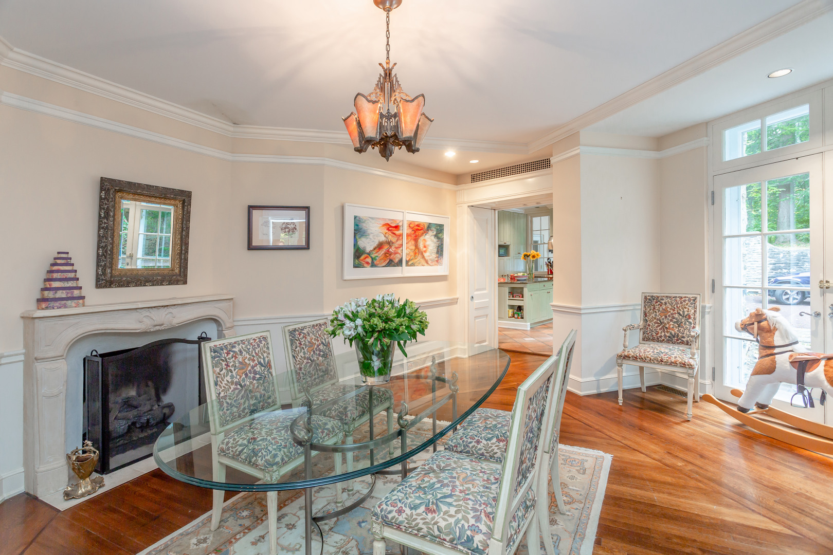 gladwyne colonial revival mansion casual dining room