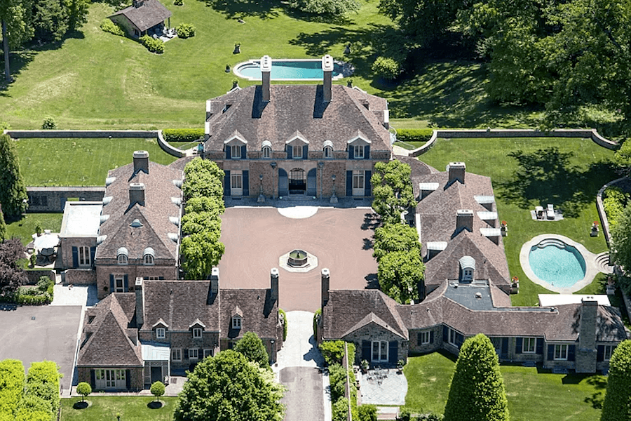 house for sale gladwyne french estate aerial view of central court