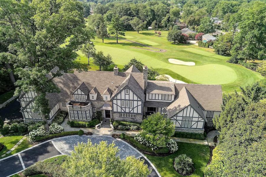 house for sale haddonfield tavistock tudor mansion aerial view
