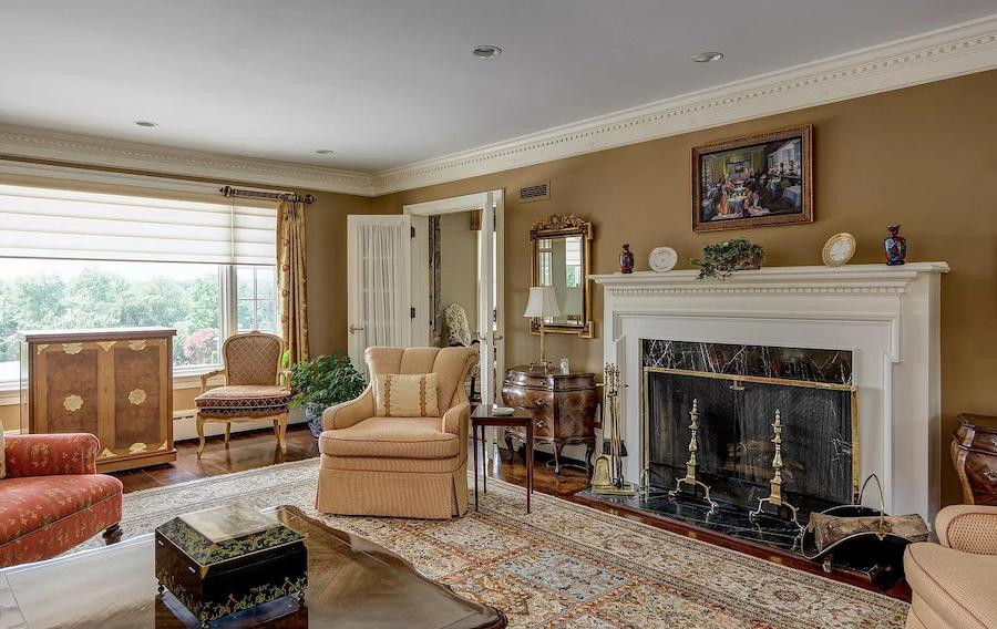 house for sale haddonfield tavistock tudor mansion living room