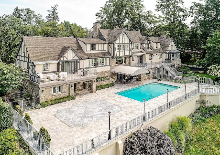 house for sale haddonfield tavistock tudor mansion rear patio and terraces