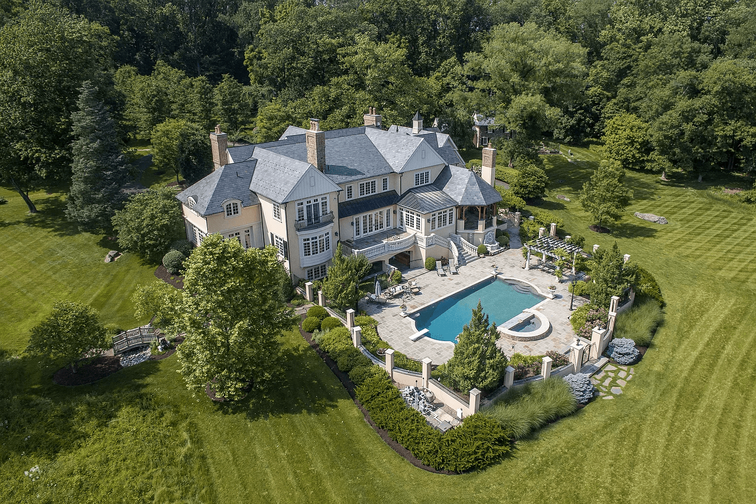 house for sale new hope rockwood farm estate house backyard aerial view
