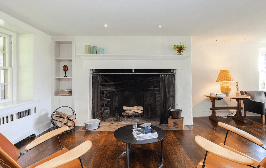 house for sale pipersville double datestone estate living room fireplace