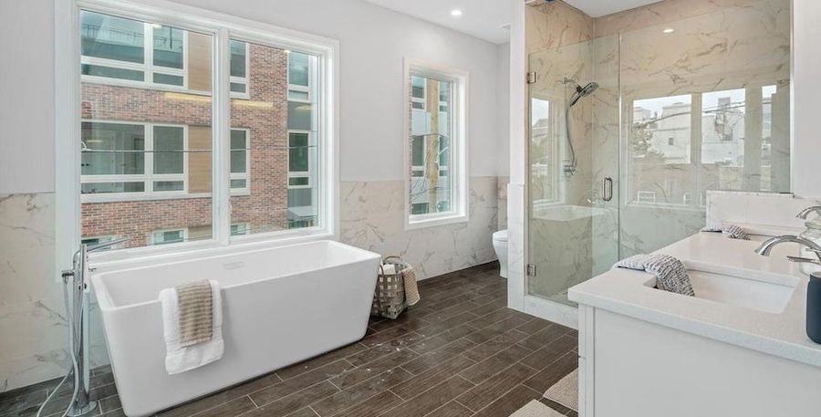 house for sale point breeze new construction townhouse master bathroom