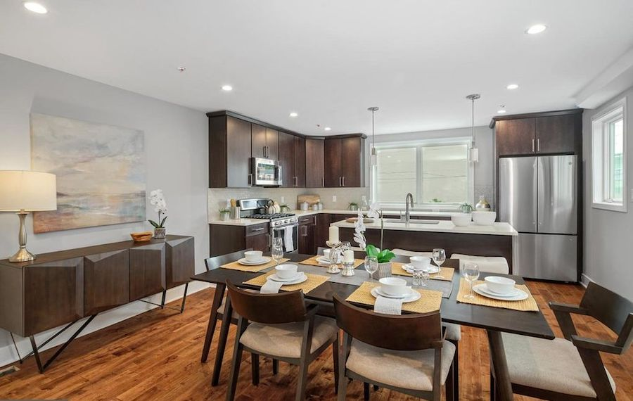 house for sale point breeze new construction townhouse dining room and kitchen