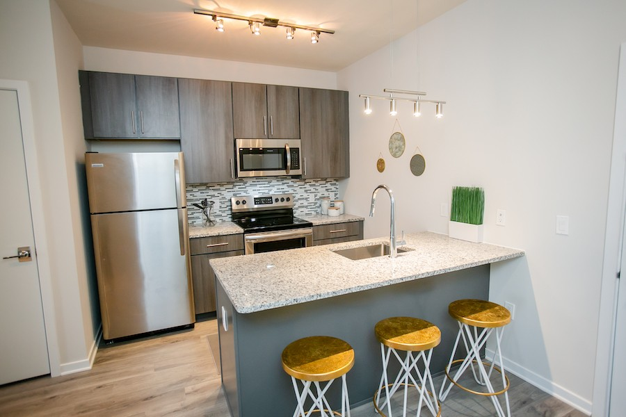 the hub at 31 brewerytown apartment profile model apartment kitchen