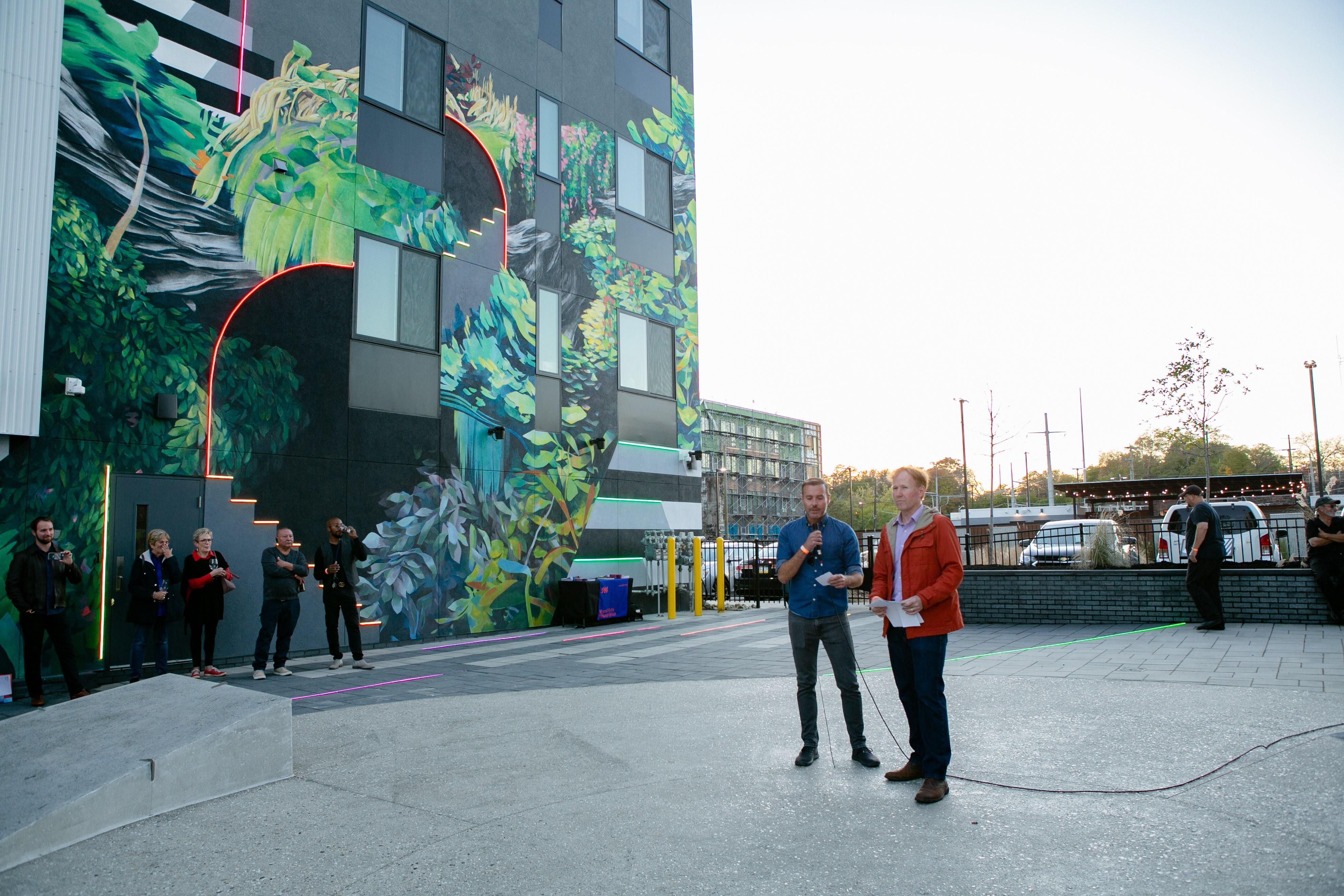 the hub at 31 brewerytown apartment profile artists at plaza ribbon-cutting