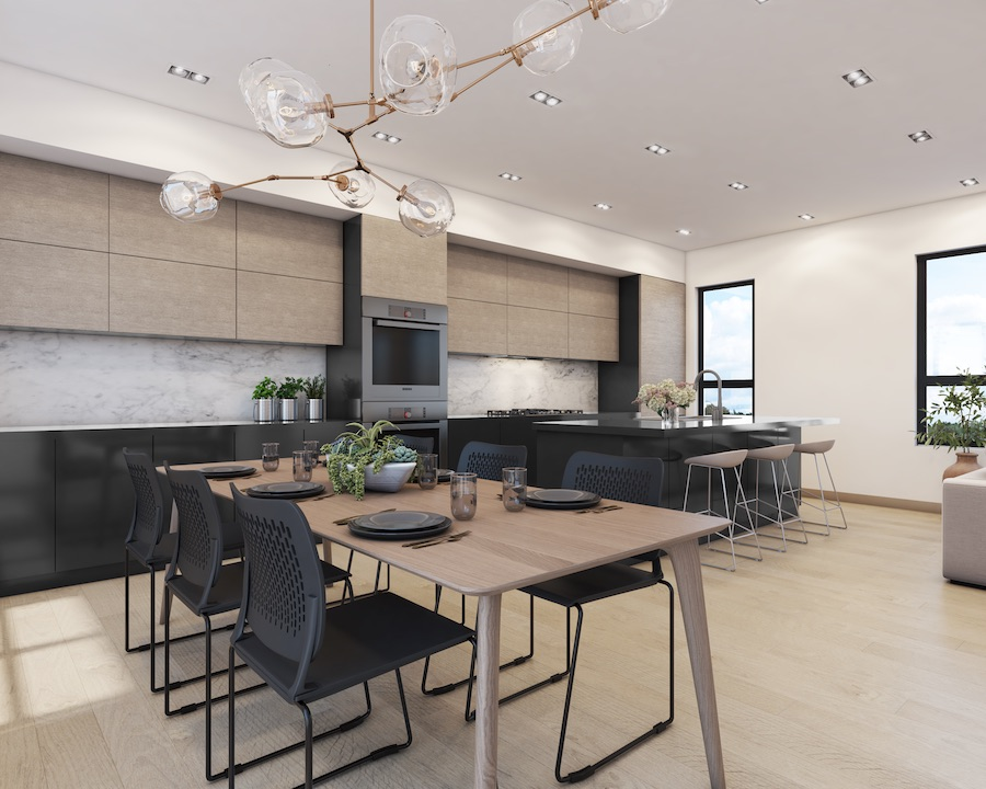 callowhill court kitchen and dining area