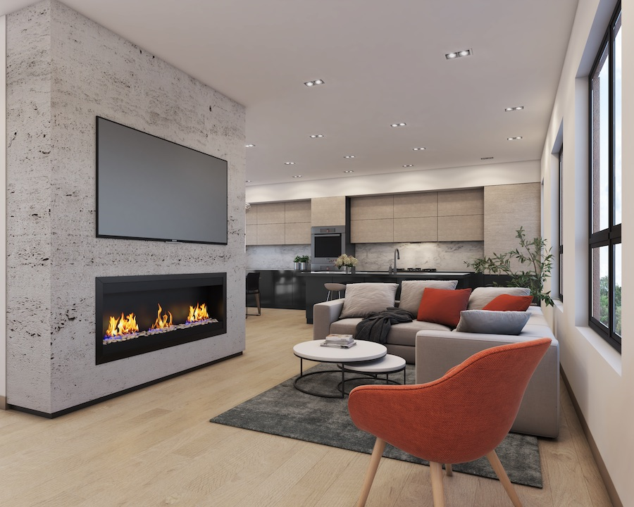 callowhill court living room rendering