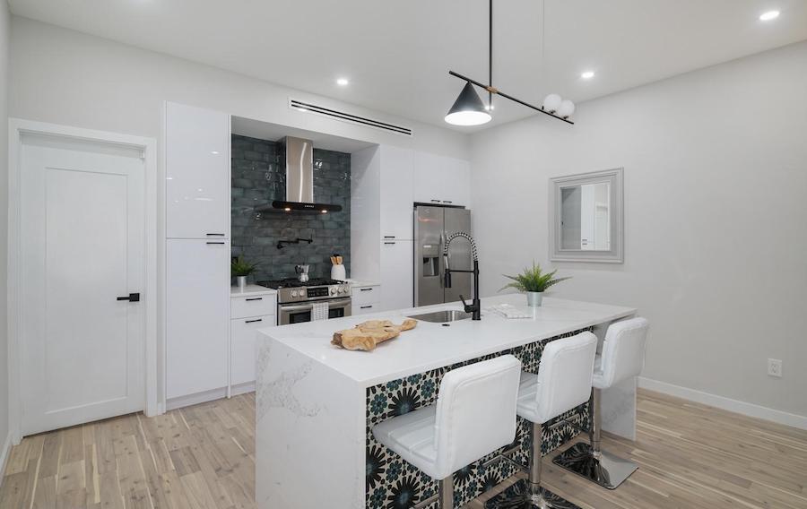 cobbs creek renovated corner rowhouse kitchen