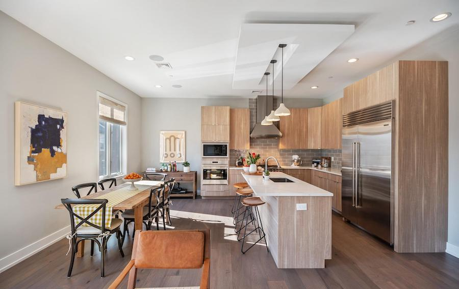 house for sale northern liberties modern townhouse dining room and kitchen