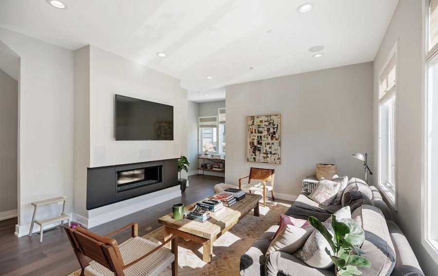 house for sale northern liberties modern townhouse living room