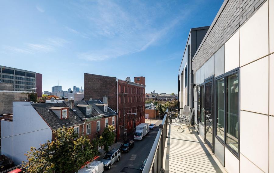 northern liberties modern townhouse balcony view