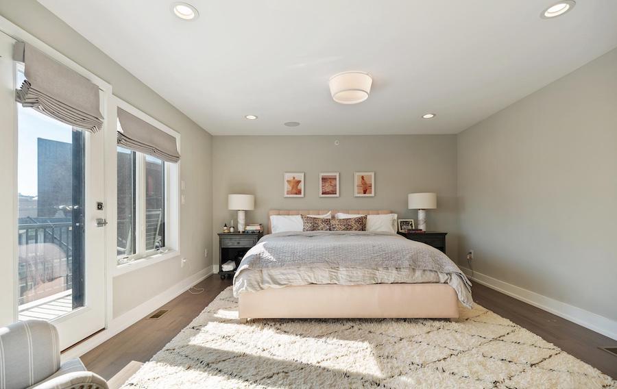 northern liberties modern townhouse master bedroom