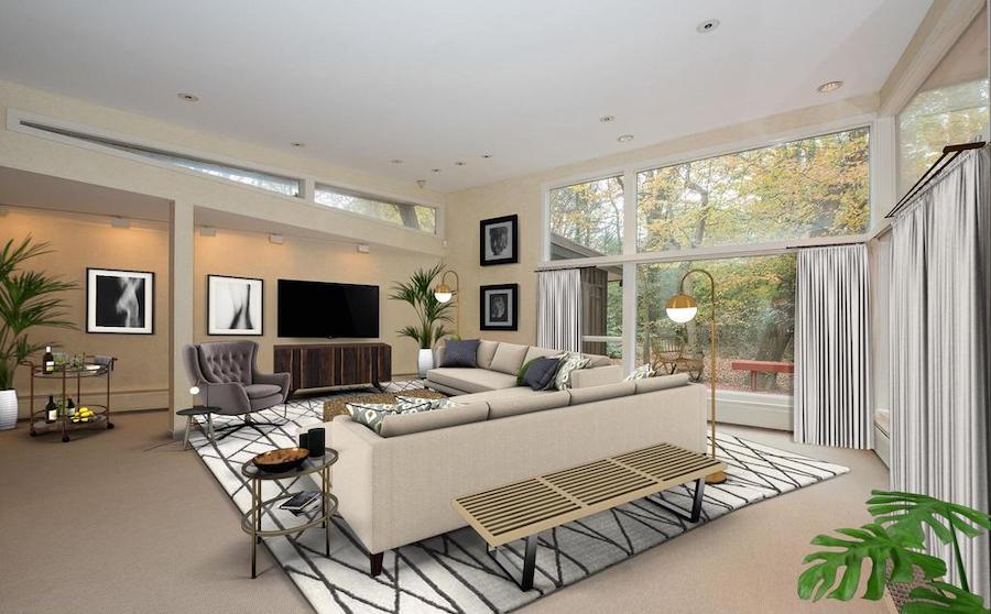 house for sale penn valley midcentury modern living room