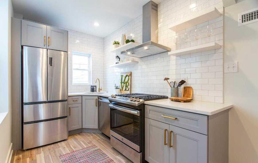 point breeze modern workingman's row house kitchen