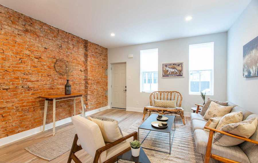 house for sale point breeze modern workingman's row house living room