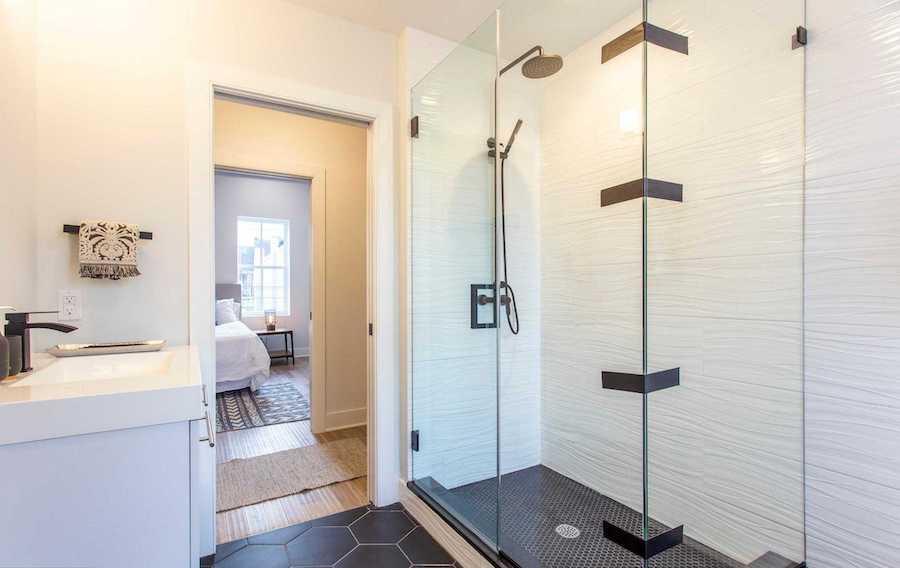 point breeze modern workingman's row house bathroom and closet