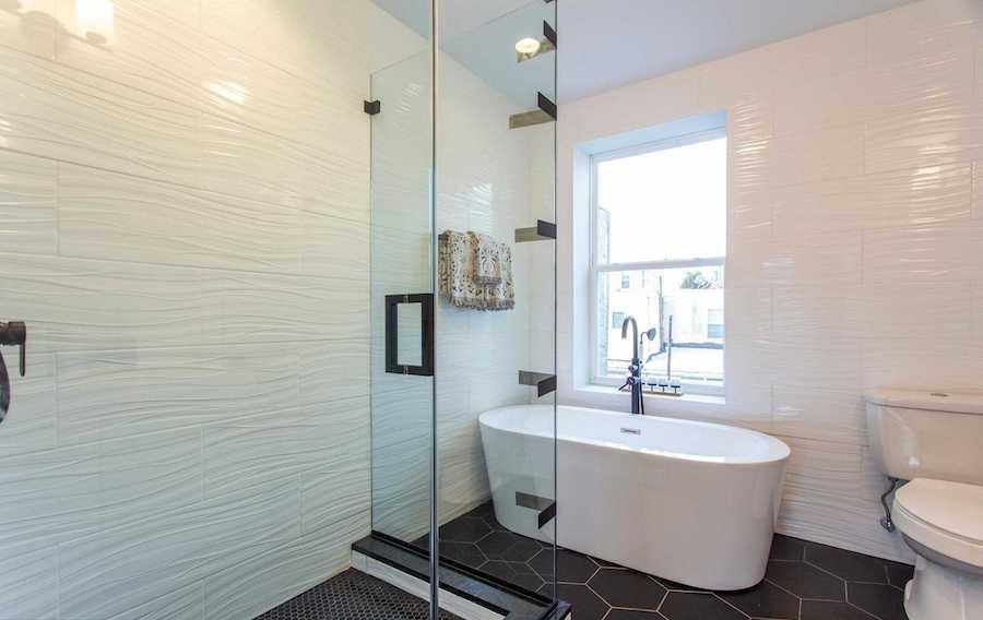 point breeze modern workingman's row house bathroom