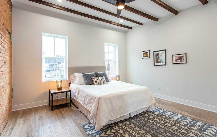 point breeze modern workingman's row house master bedroom