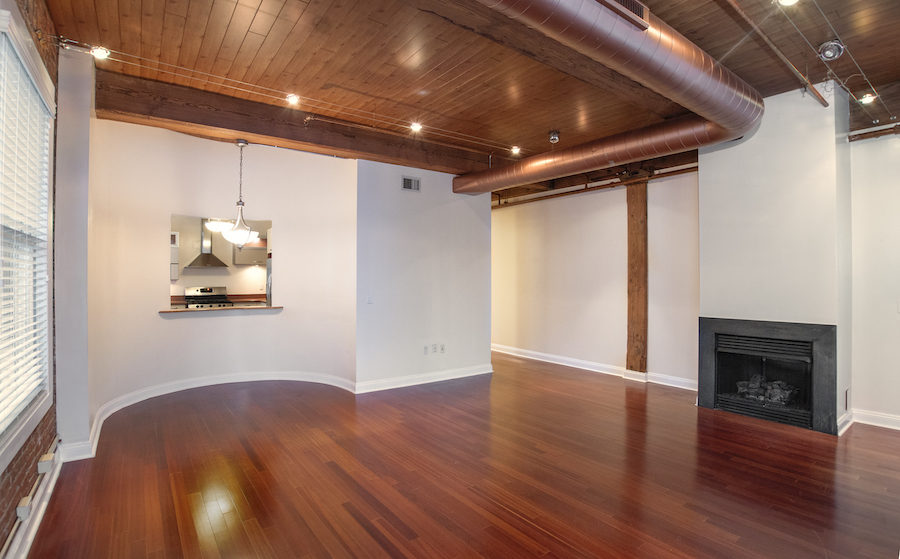 condo for rent rittenhouse square loft living and dining room