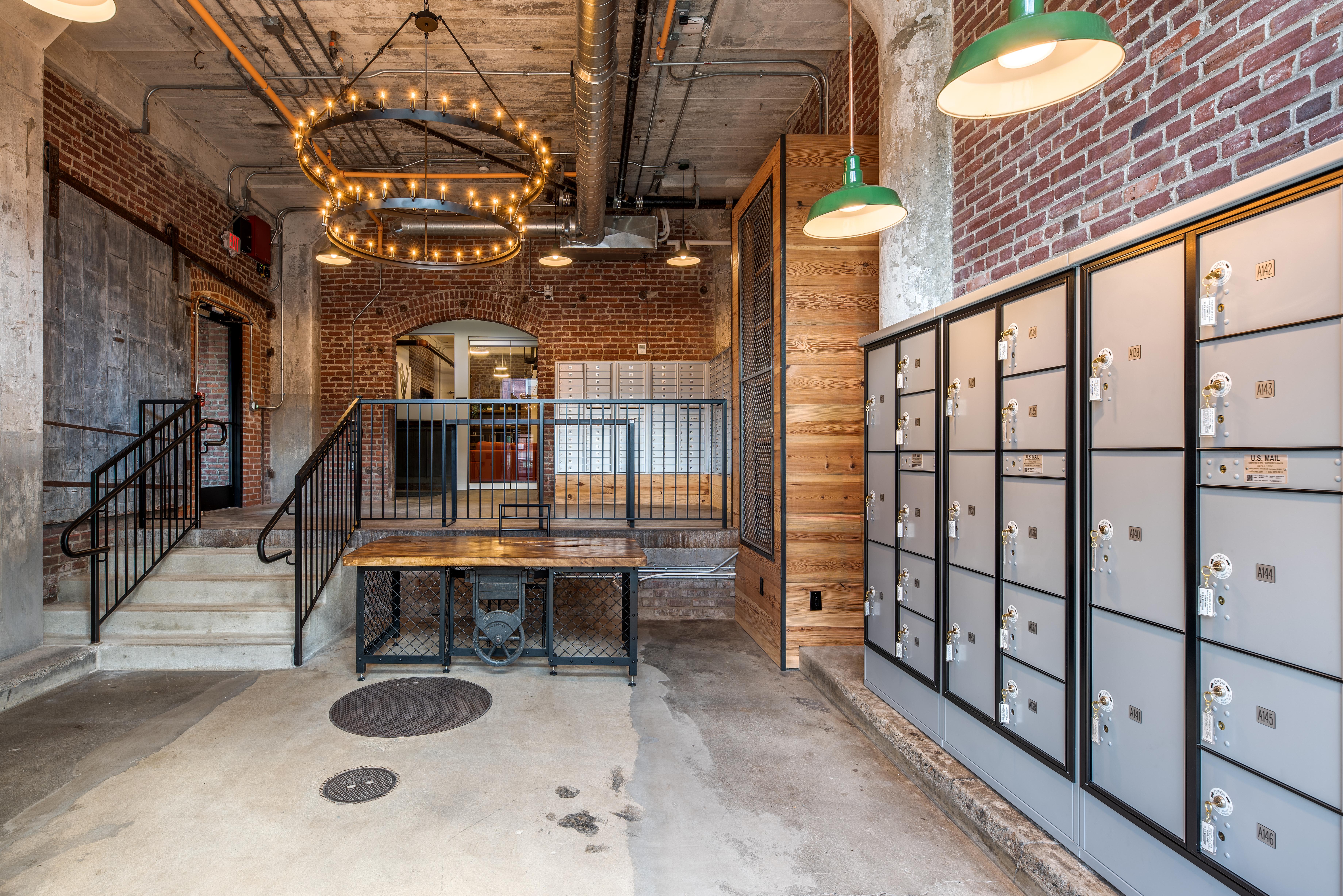 brush factory lofts apartment profile building lobby
