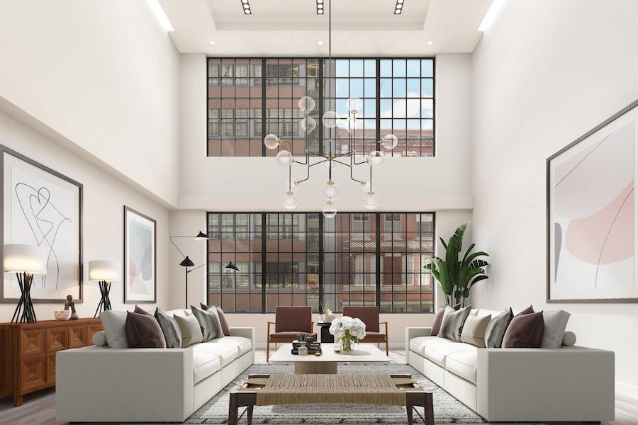 condo for sale old city bi-level living room