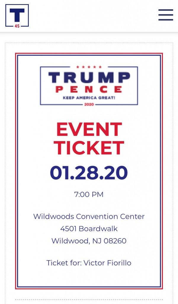 donald trump rally ticket