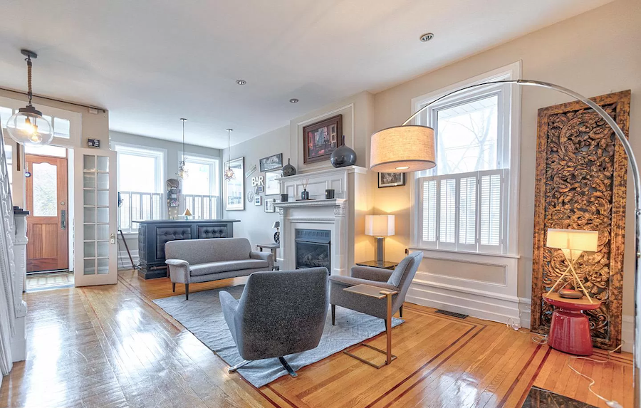 house for sale fairmount rehabbed rowhouse living room