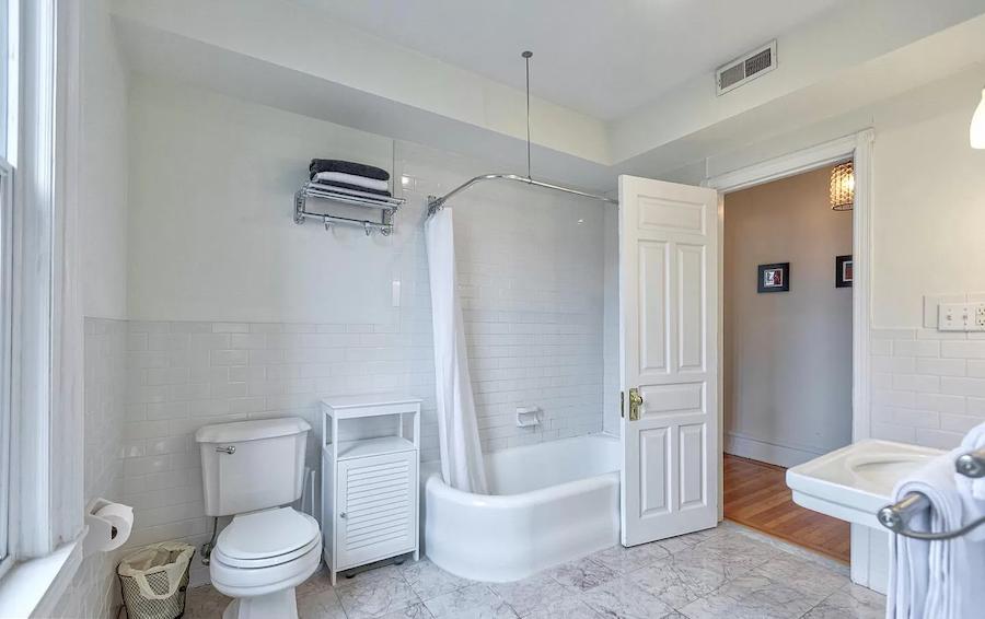 house for sale fairmount rehabbed rowhouse master bathroom
