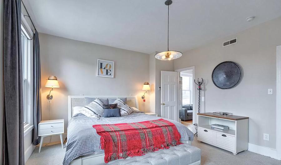 house for sale fairmount rehabbed rowhouse master bedroom