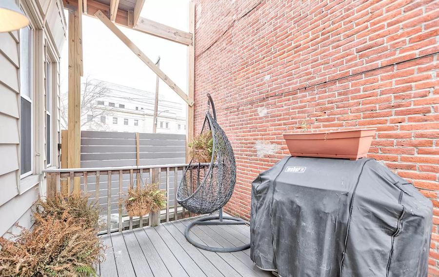 fairmount rehabbed rowhouse second-floor deck