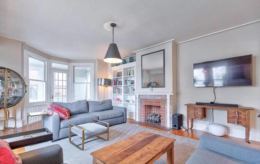 fairmount rehabbed rowhouse second floor living room