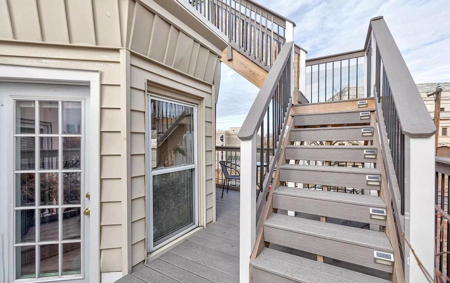 fairmount rehabbed rowhouse third-floor deck