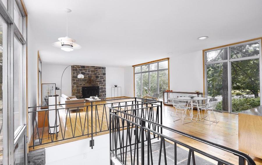 house for sale north hills restored midcentury modern living-dining room