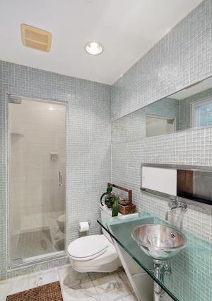 north hills restored midcentury modern master bathroom