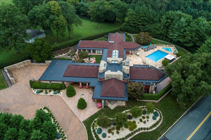 house for sale pottstown prairie style aerial view