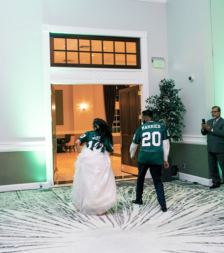 """""""just married"""" eagles jerseys"""