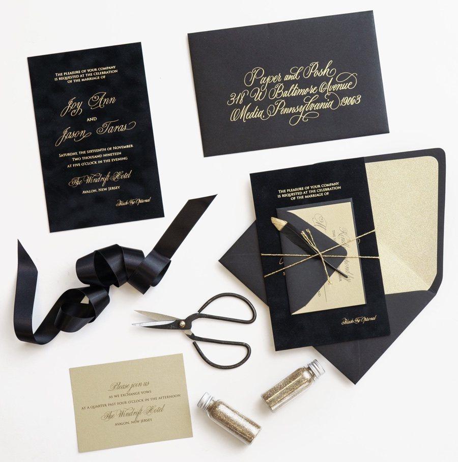Paper and Posh wedding invitation