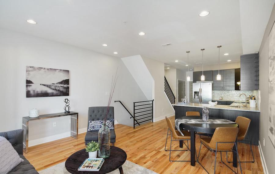 condo for sale francisville newer bi-level dining area and kitchen