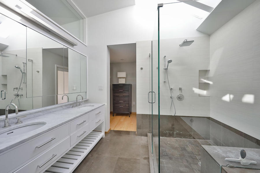 mt. airy midcentury modern split-level master bathroom