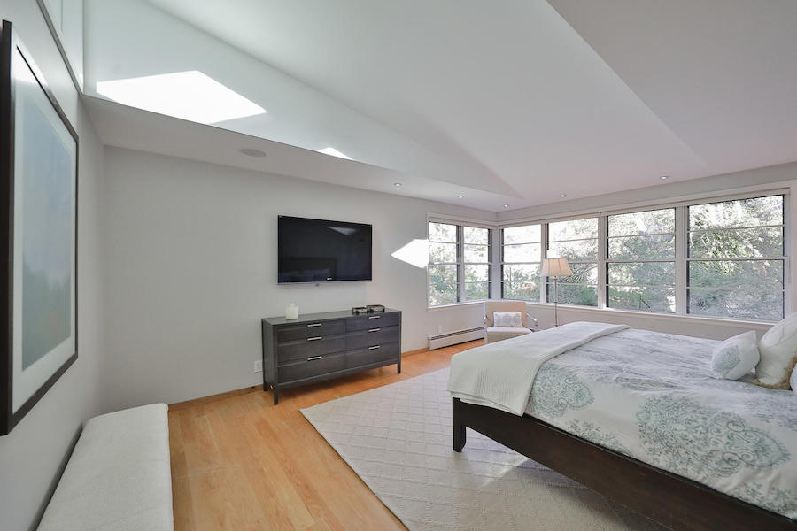 mt. airy midcentury modern split-level master bedroom