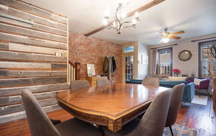 house for sale point breeze reclaimed rowhouse dining room