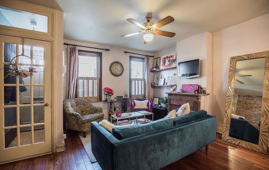 house for sale point breeze reclaimed rowhouse living room