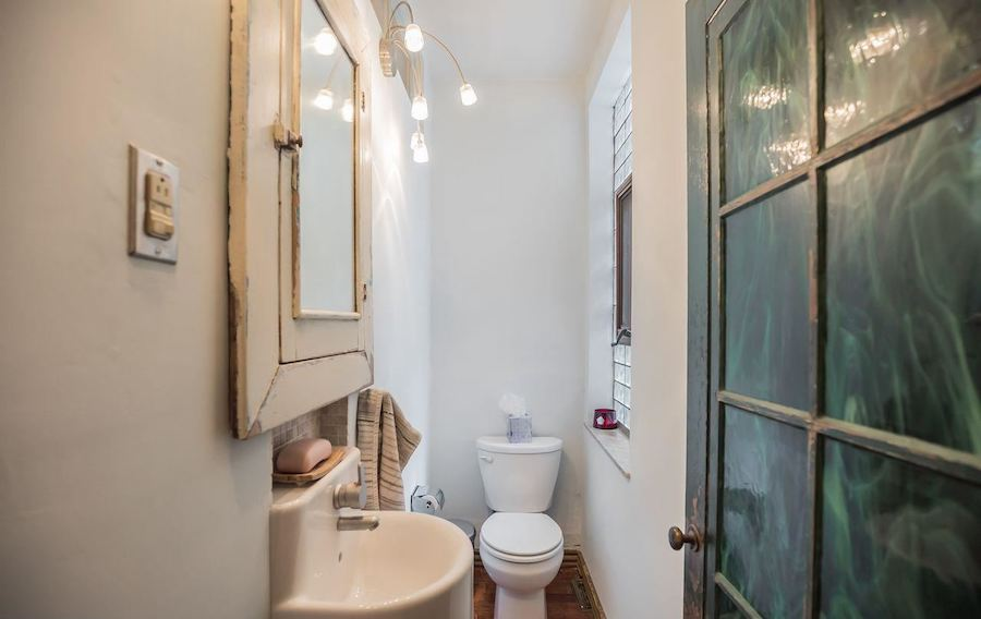 house for sale point breeze reclaimed rowhouse powder room