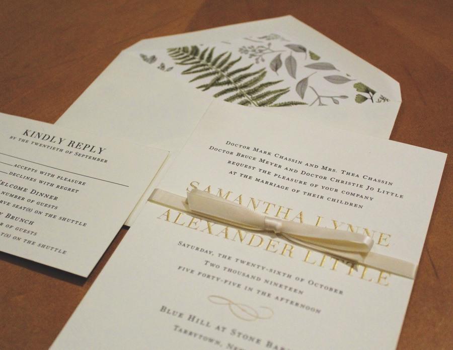 Paper on Pine wedding invitations