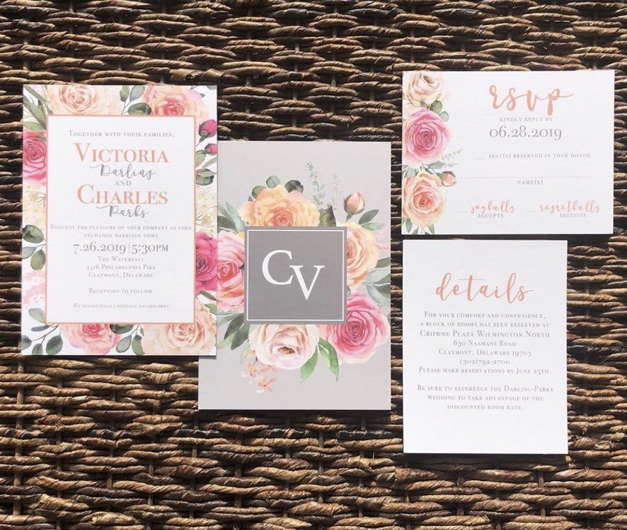 Penned by Pink wedding invitation