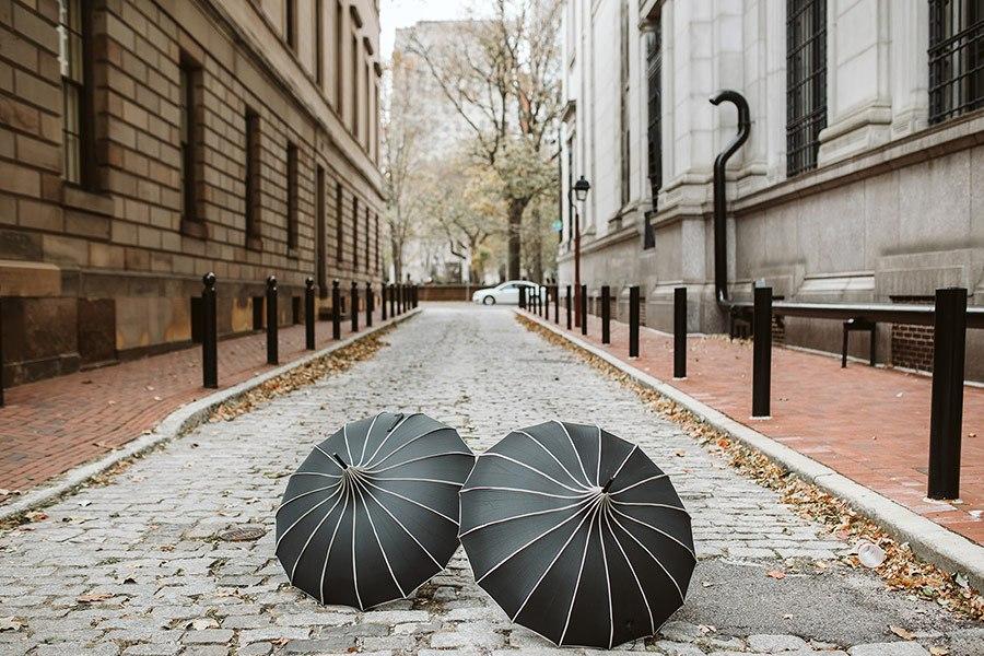 umbrellas in an alley
